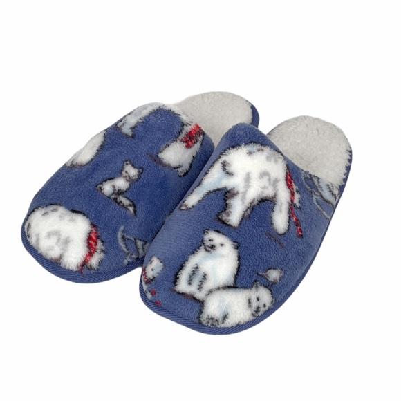 Vera Bradley Beary Merry Slippers Blue, Medium 7-8